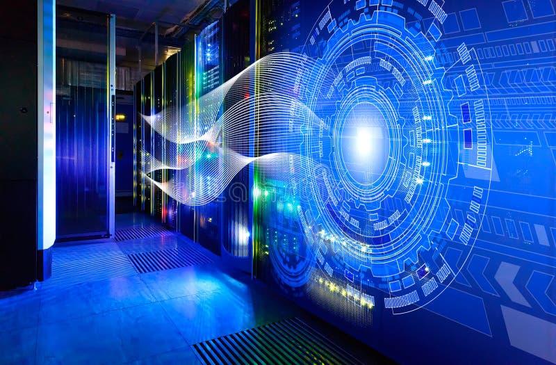Abstrakta bildljusspår visualization av en hacker anfaller på informationsdataserveren stock illustrationer