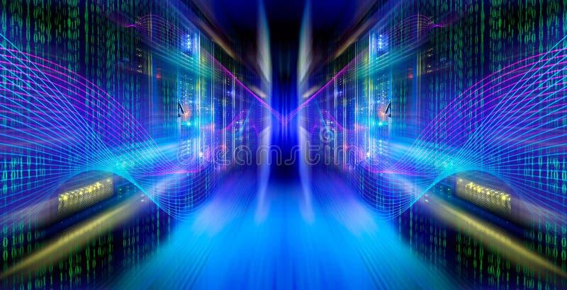 Abstrakta bildljusspår visualization av en hackerattacker på arkivbilder