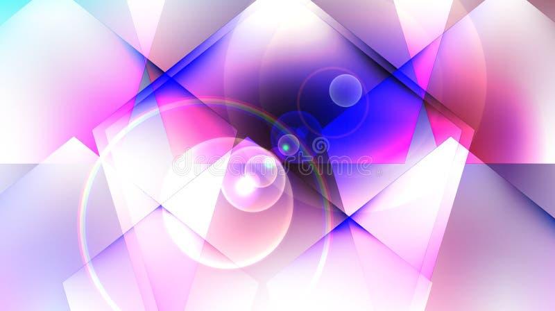 Abstrakta blåa fyrkanter på en vit rosa bakgrund royaltyfri foto
