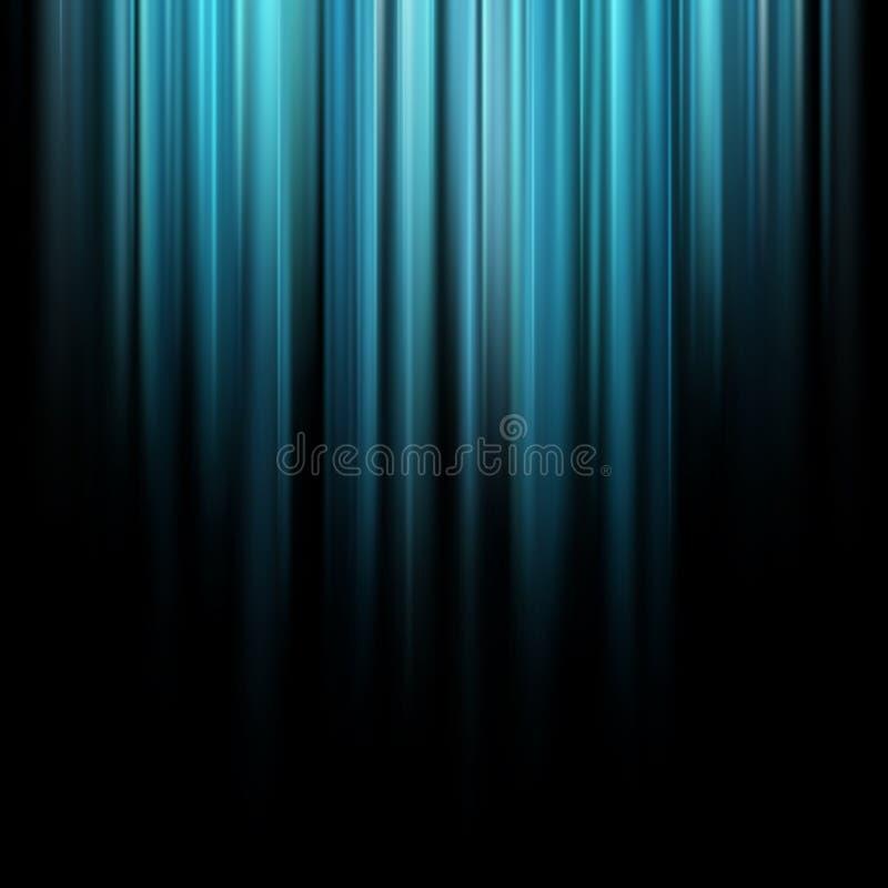 Abstrakta blåa magiska ljusa strålar över mörk bakgrund 10 eps royaltyfri illustrationer