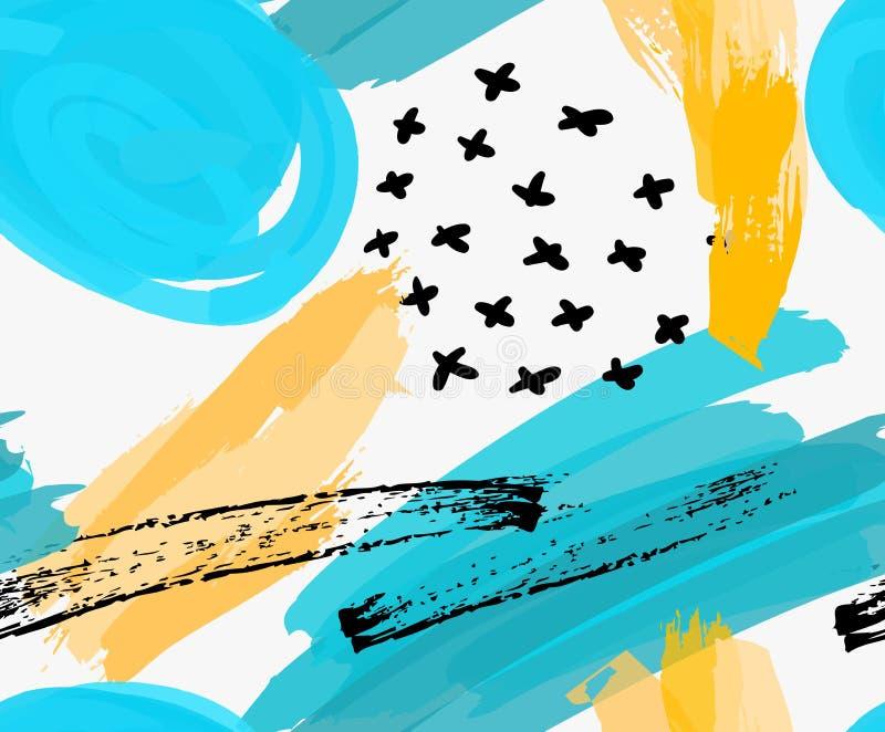 Abstrakta blåa markörcirklar och gula borsteslaglängder vektor illustrationer