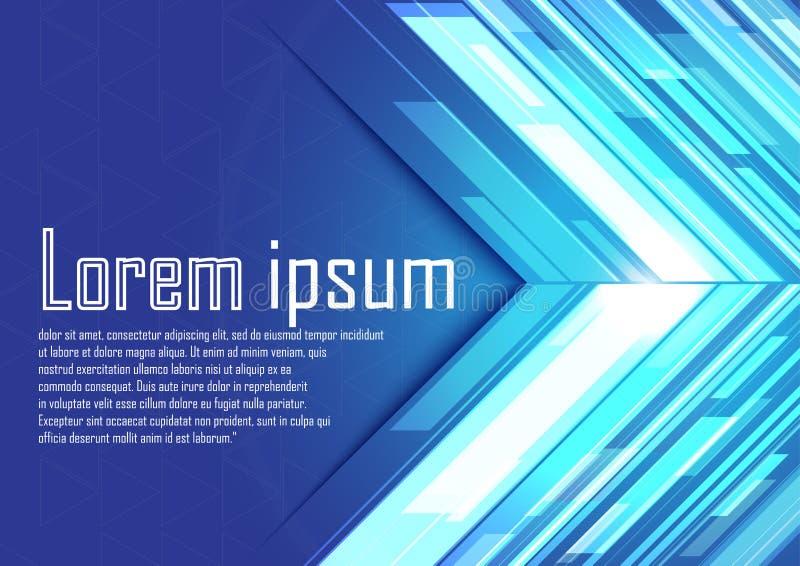Abstrakta blåa pilar med ljus vektor illustrationer