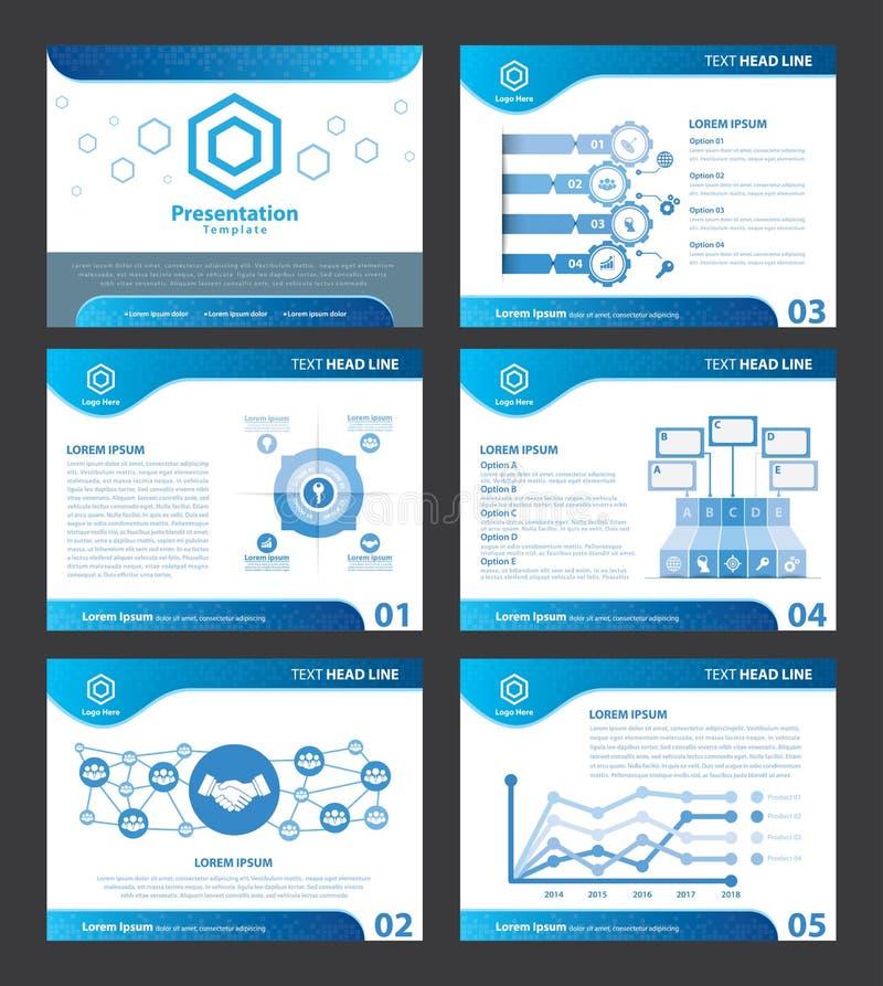 Abstrakta blåa presentationsmallar royaltyfri illustrationer
