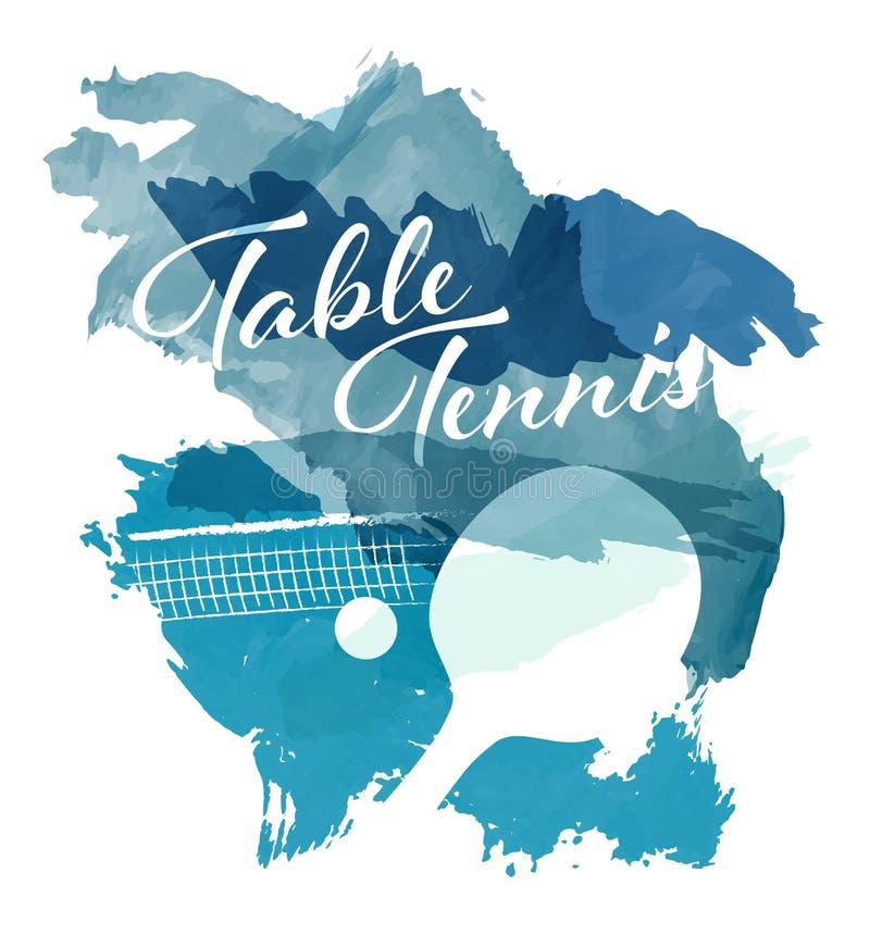 Abstrakta blåa vattenfärgfärgstänk med bordtennisutrustningkonturer royaltyfri illustrationer