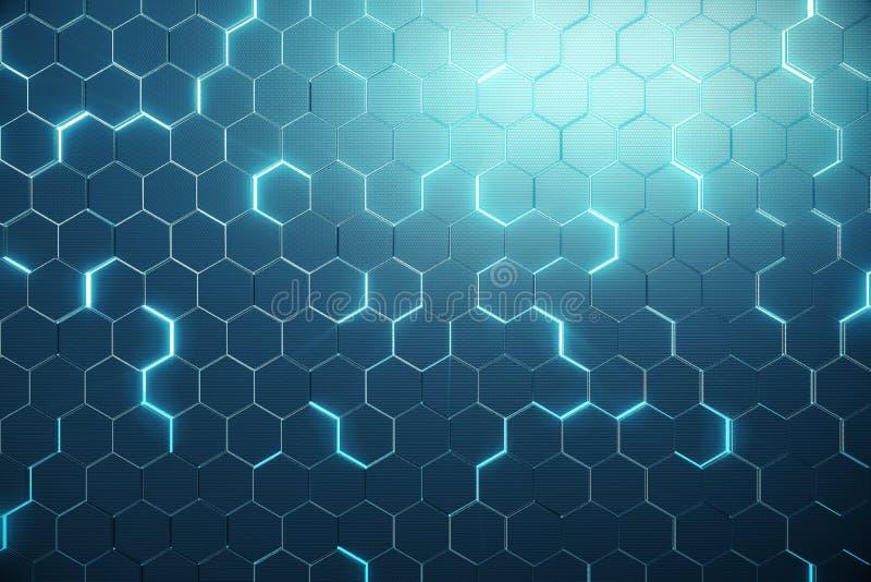 Abstrakta blått av den futuristiska yttersidasexhörningsmodellen med ljusa strålar framförande 3d royaltyfri illustrationer