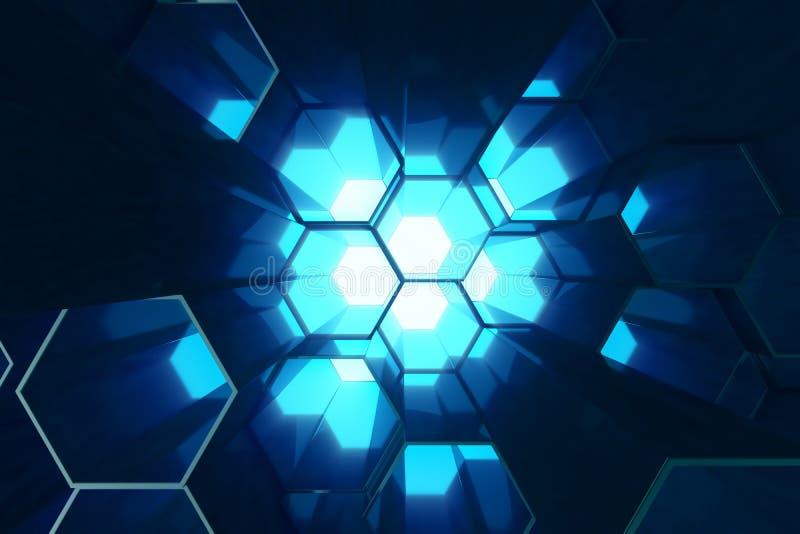 Abstrakta blått av den futuristiska yttersidasexhörningsmodellen, sexhörnig honungskaka med ljusa strålar, tolkning 3D royaltyfri illustrationer