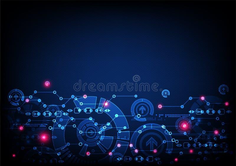 Abstrakta blått färgade teknologisk bakgrund med olik elem stock illustrationer