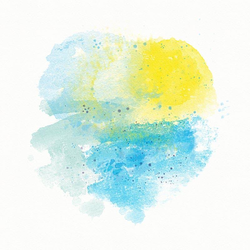 Abstrakta blått gulnar den vattenfärgbakgrund, skilsmässa, fläcken och sprej Sol och hav, strand, solnedgång, landskap stock illustrationer