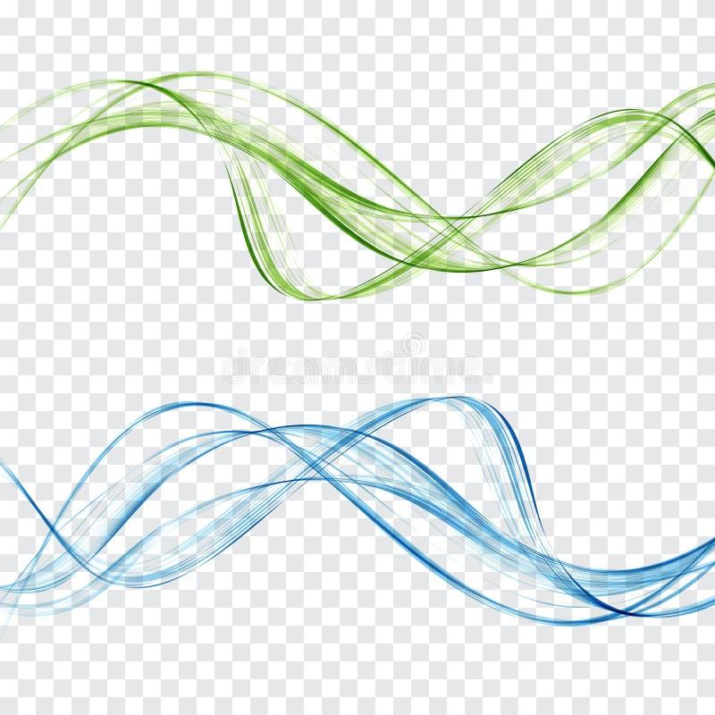 Abstrakta blått och gröna vågor ställde in på en genomskinlig bakgrund stock illustrationer