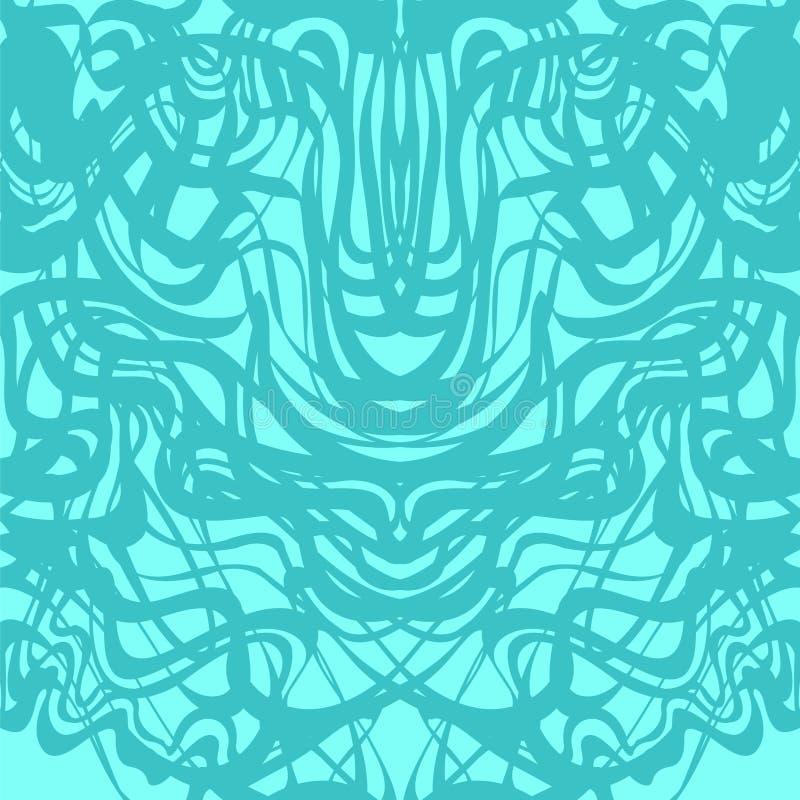 Abstrakta blått snör åt moirevektormodellen royaltyfri illustrationer