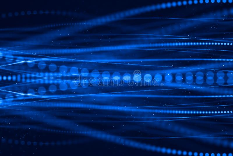 Abstrakta blått som växer den ljusa gruppen av bakgrund för optiska fibrer, vektor illustrationer