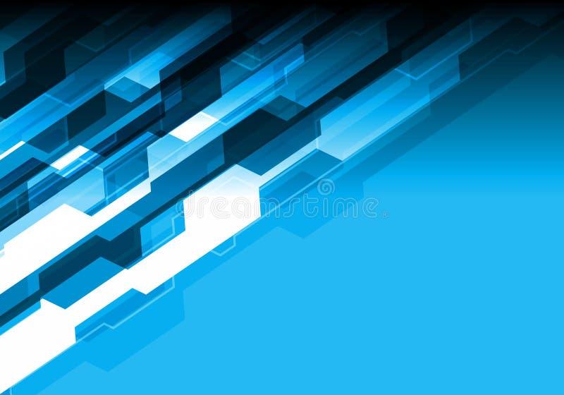 Abstrakta blått tonar polygonteknologi med vektorn för bakgrund för designen för tomt utrymme den moderna futuristiska royaltyfri illustrationer