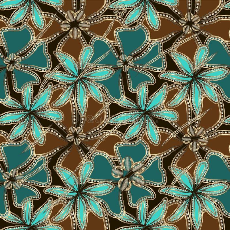 Abstrakta blått, turkos och bruna blommor i guld- ram med diamanter royaltyfri illustrationer