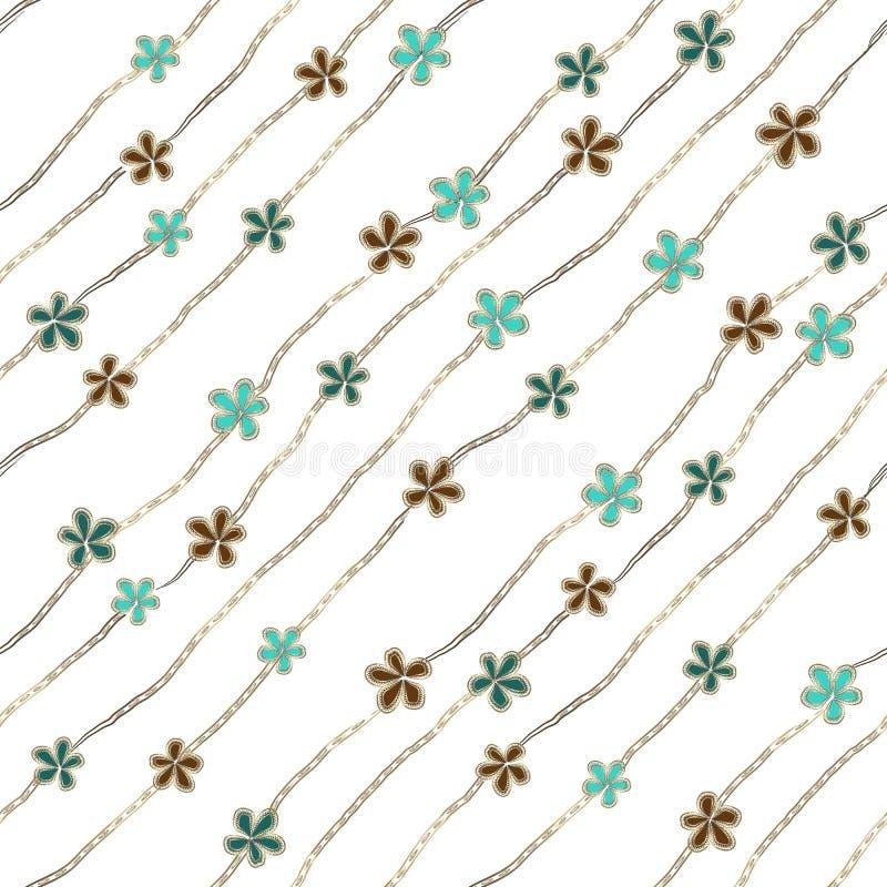 Abstrakta blått, turkos och bruna blommor som broschen och smyckendiamantkedjor på vit bakgrund vektor illustrationer