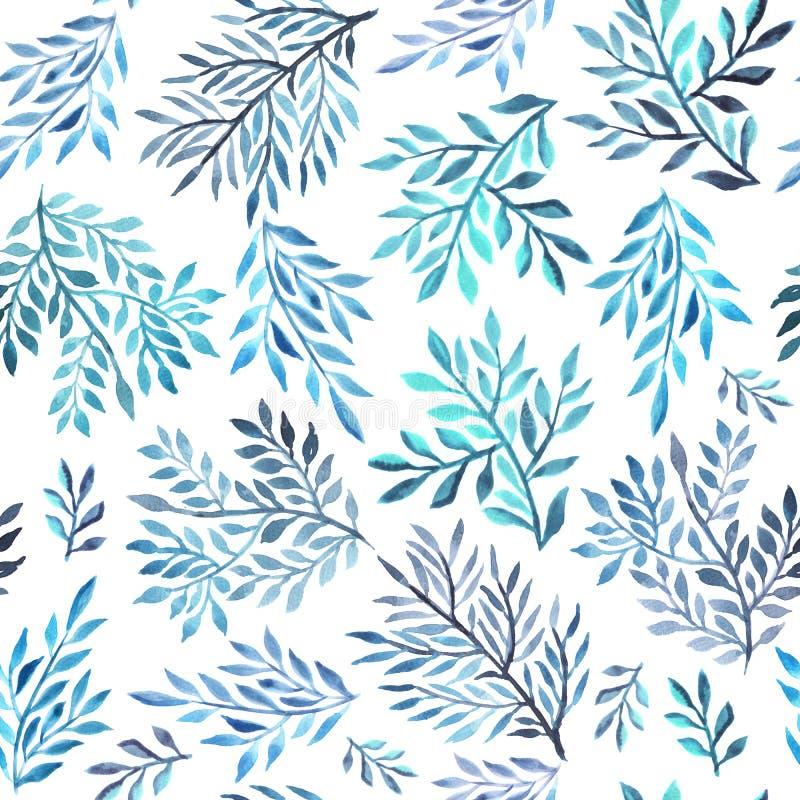 Abstrakta bladiga vattenfärgmålningar stock illustrationer