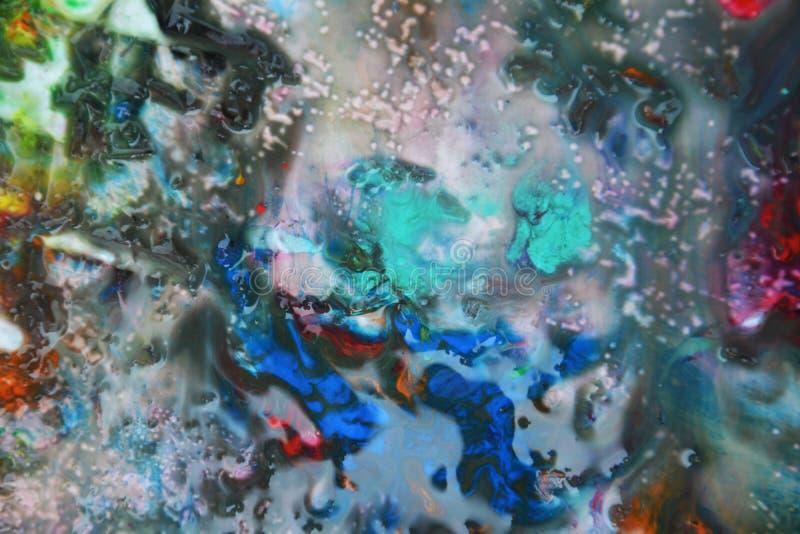 Abstrakta blandade gröna purpurfärgade orange färger och toner för röda blått Abstrakta unika blöter målarfärgbakgrund Målningflä royaltyfri fotografi