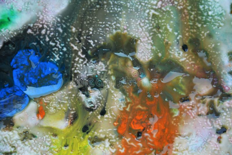 Abstrakta blandade målarfärgfärger och toner Abstrakta unika blöter målarfärgbakgrund Målningfläckar royaltyfria foton