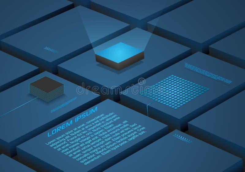 Abstrakta blokowy tło z sztuczną inteligencją, mechaniczny kwantowy oblicza procesor w błękitnym kolorze Używać dla biznes royalty ilustracja