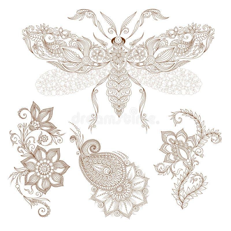 Abstrakta blom- beståndsdelar för vektor i indisk mehendy stil Design stock illustrationer