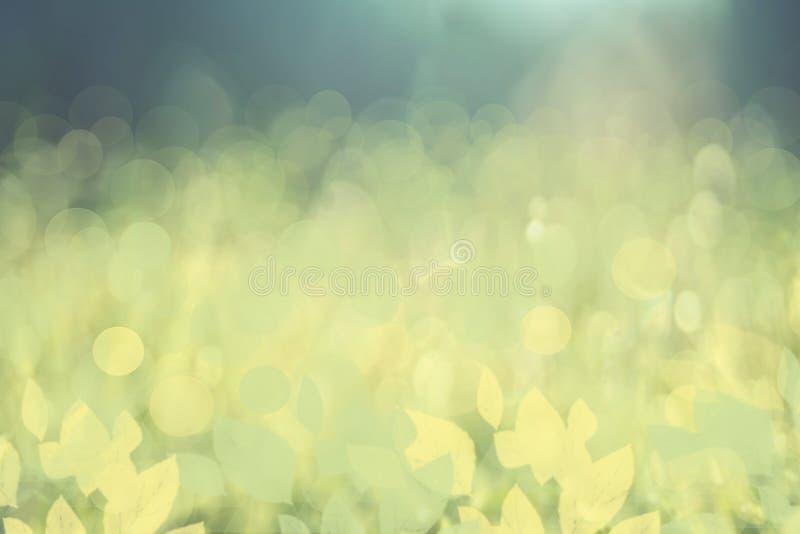 Abstrakta bokeh zieleni rozjaśnia okręgi i liście od underwat ilustracja wektor