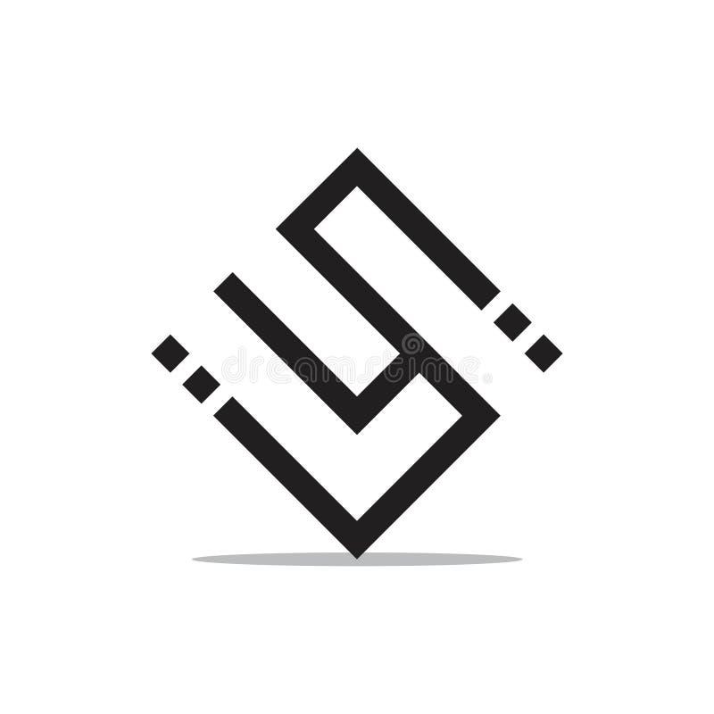 Abstrakta bokstäver su pricker den geometriska linjen logovektor vektor illustrationer