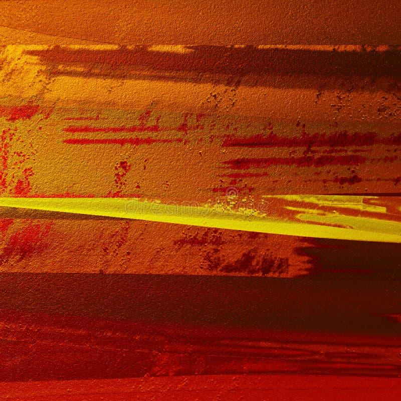 Abstrakta borsteslaglängder målade bakgrund Grungefärgprovkartor brons in signal Bra för: affischkort, dekor royaltyfri bild