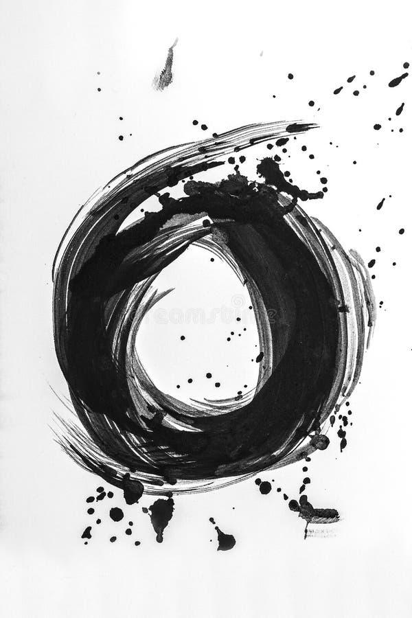 Abstrakta borsteslaglängder och färgstänk av målarfärg på vitbok Vattenfärgtextur för idérikt tapet- eller designkonstarbete, svä fotografering för bildbyråer