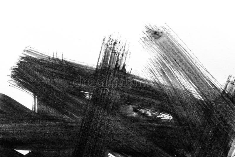 Abstrakta borsteslaglängder och färgstänk av målarfärg på vitbok wat arkivfoton