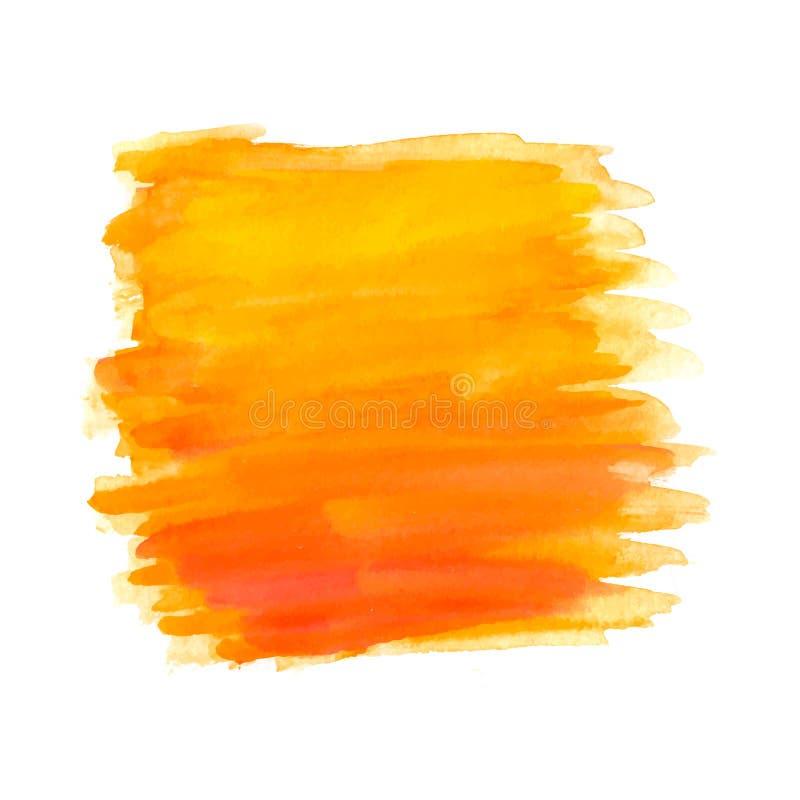 Abstrakta borsteslaglängder, orange vattenfärg stock illustrationer