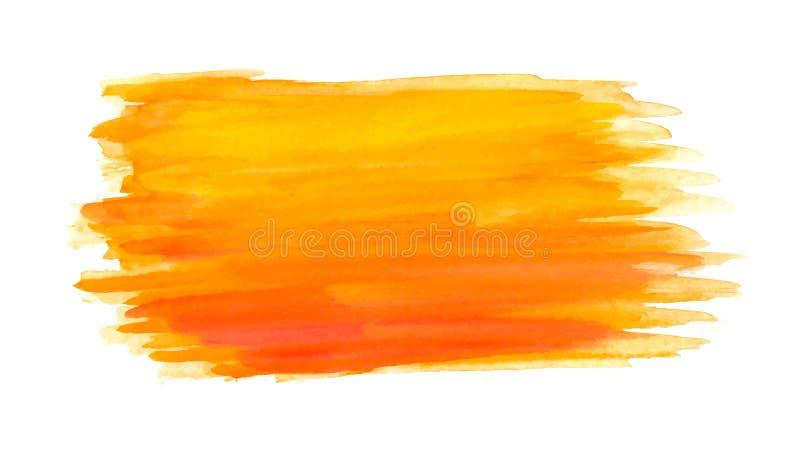 Abstrakta borsteslaglängder, orange vattenfärg royaltyfri illustrationer