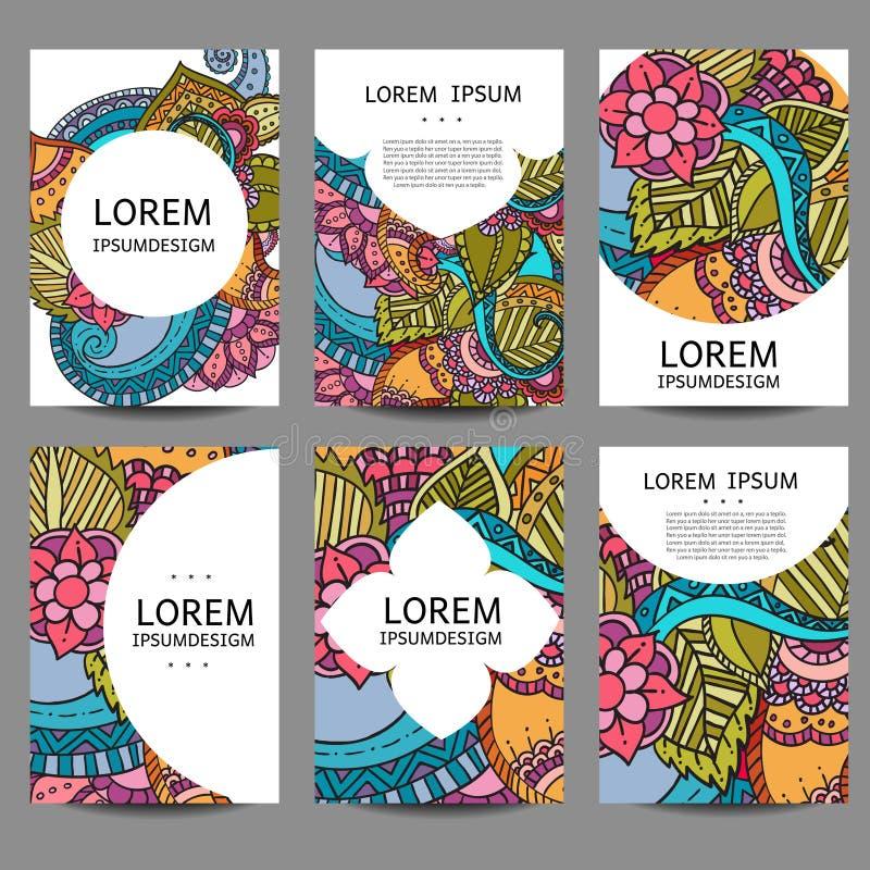 Abstrakta broschyrer för vektor i klotterstil Ramar och bakgrunder för designmalltappning royaltyfri illustrationer
