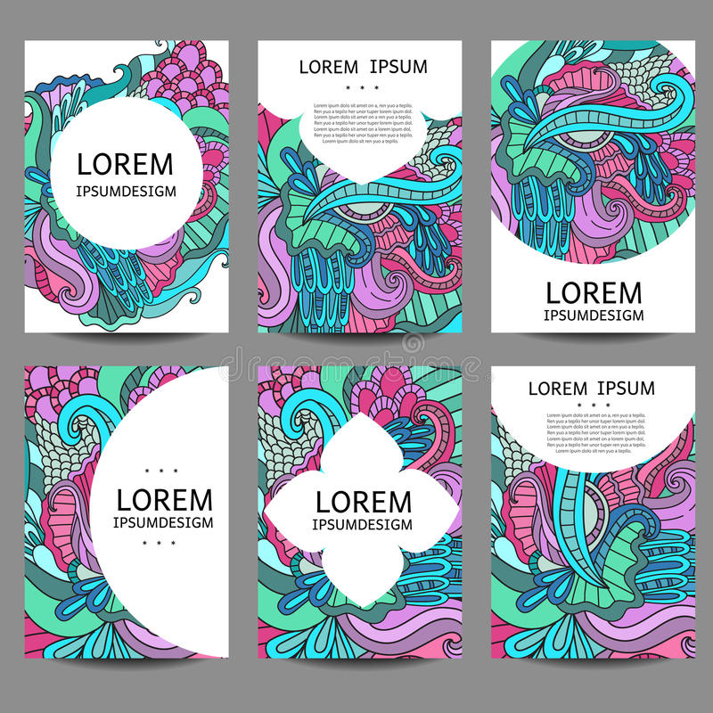 Abstrakta broschyrer för vektor i klotterstil Ramar och bakgrunder för designmalltappning stock illustrationer