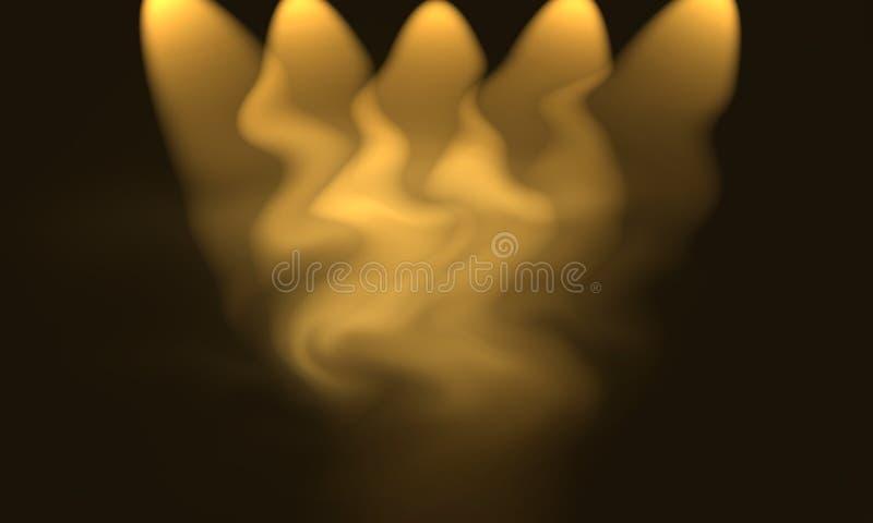 Abstrakta bruna glödande ljus och att göra suddig isolerad bakgrund Glödljus royaltyfria foton