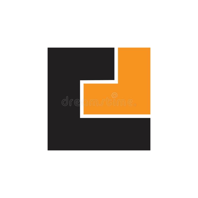 Abstrakta c listowy kwadrat z strzałkowatym geometrycznym logo ilustracji