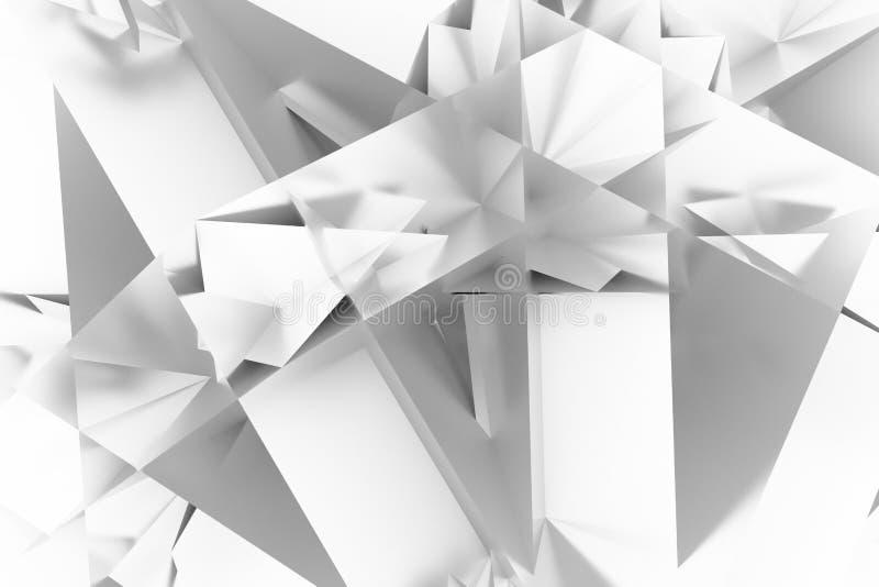 Abstrakta CGI, przypadkowy geometryczny t?o Tapeta dla graficznego projekta Szary lub czarny i bia?y b&w 3D odp?aca si? ilustracja wektor