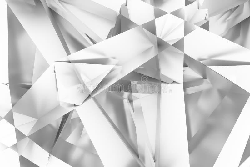 Abstrakta CGI, przypadkowy geometryczny t?o Tapeta dla graficznego projekta Szary lub czarny i bia?y b&w 3D odp?aca si? royalty ilustracja