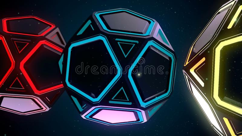 Abstrakta CGI-rörelsediagram och blå bakgrund stock illustrationer