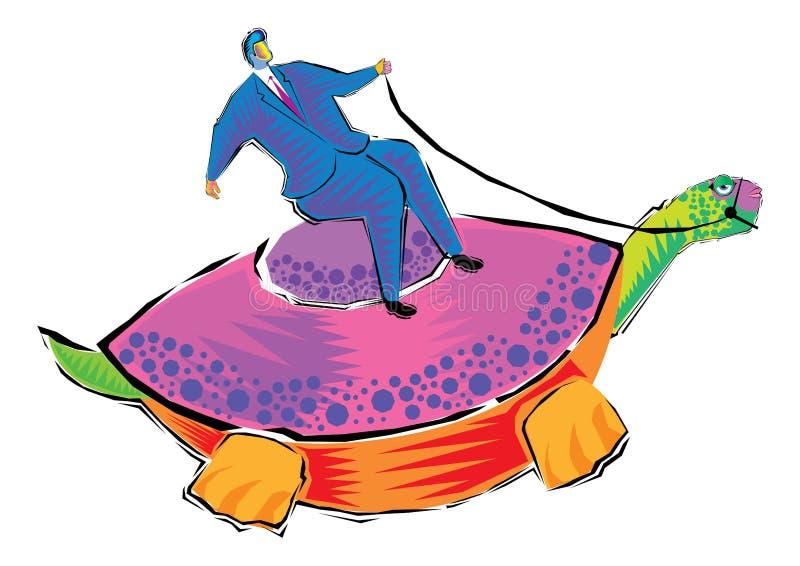 Abstrakta Clipart av affärsmannen som rider en sköldpadda vektor illustrationer