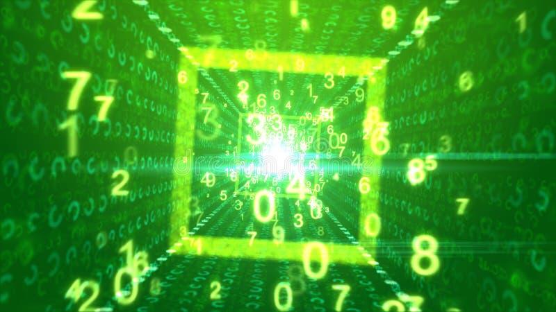 Abstrakta cyber kwadratowy kanał z liczbami ilustracja wektor