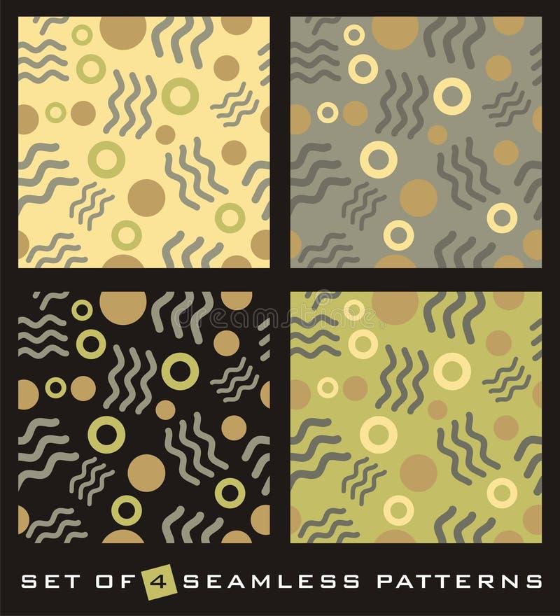 abstrakta cztery wzorów bezszwowy set ilustracja wektor