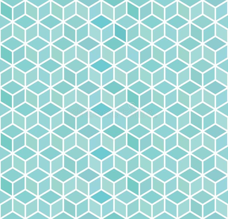 Abstrakta 3d błękita kwadrata geometryczny bezszwowy wzór również zwrócić corel ilustracji wektora ilustracji