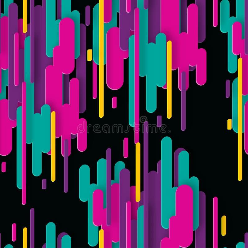 Abstrakta 3d bezszwowy wzór z kolorowymi papierowymi geometrycznymi kształtami ilustracja wektor