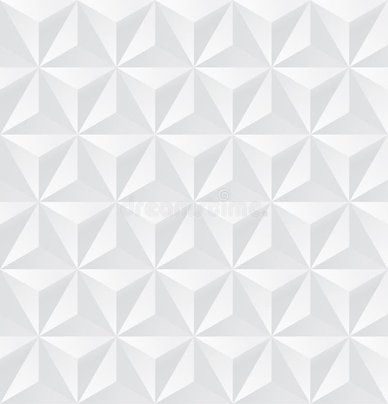 Abstrakta 3D białego trójboka bezszwowy wzór, 3d trójboka tło, wektor fotografia royalty free