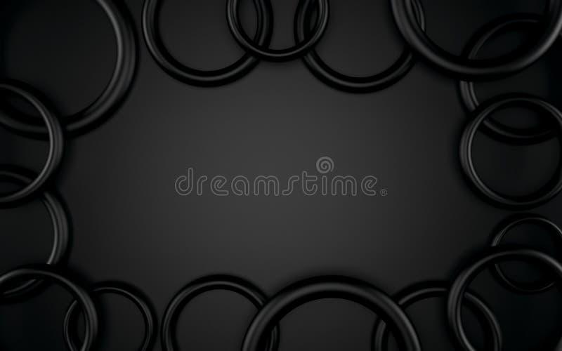 Abstrakta 3d czarny geometryczny tło Biała tekstura z cieniem 3 d czynią royalty ilustracja