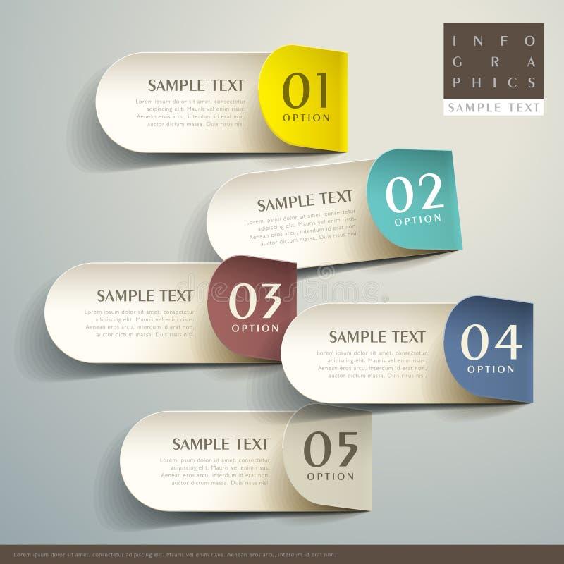 Abstrakta 3d etykietki infographics ilustracja wektor