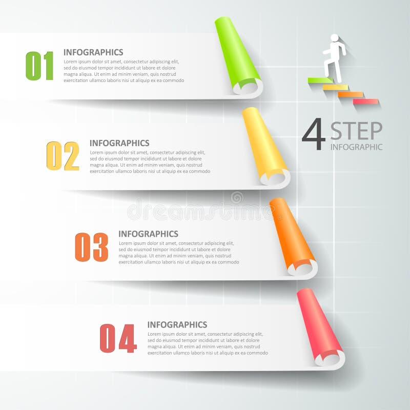 Abstrakta 3d infographic 4 alternativ, infographic affärsidé vektor illustrationer