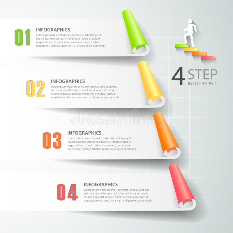 Abstrakta 3d infographic 4 opci, Biznesowy pojęcie infographic ilustracja wektor
