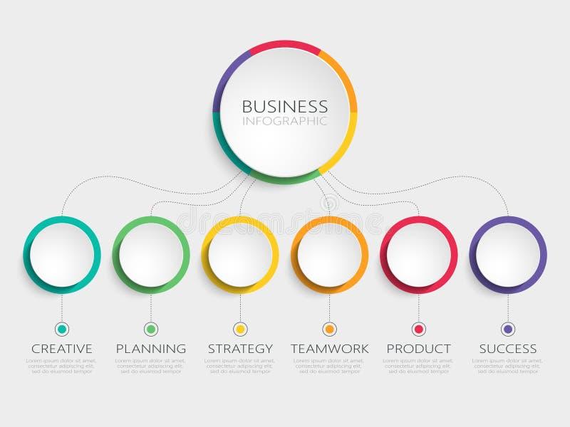 Abstrakta 3D Infographic szablon z 6 krokami dla sukcesu Biznesowego okręgu szablon z opcjami dla broszurki, diagram, obieg royalty ilustracja