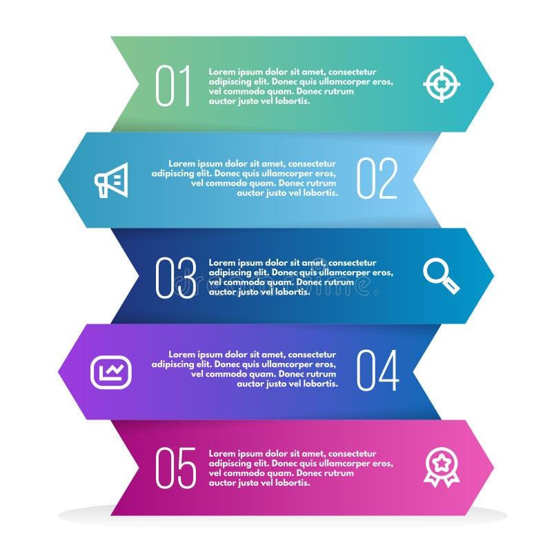 Abstrakta 3D infographic szablon z pięć kroków dla sukcesu Biznesowy szablon z opcjami dla diagrama lub sieć projekta ilustracja wektor