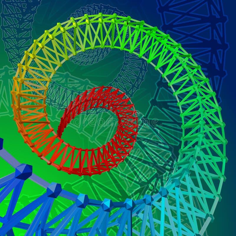 Abstrakta 3d kolorowa obramiająca spirala Śrubowaty tęczy tło ilustracja wektor